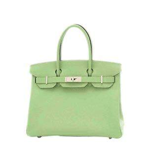 Hermes Green Epsom Leather Palladium Hardware Birkin 30 Bag