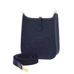 Hermes Blue Clemence Leather Evelyne TPM Bag