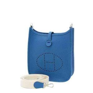 Hermes Blue Clemence Leather Evelyn TPM Bag