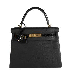Hermes Black Togo Leather Niloticus Crocodile Kelly Retourne 28 Bag