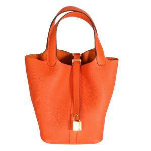 Hermes Feu/Orange Clemence Leather Picotin Lock 18 Bag