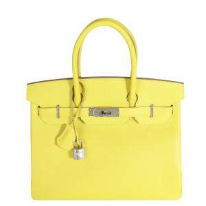 Hermes Lime Epsom Leather Palladium Hardware Birkin 30 Bag