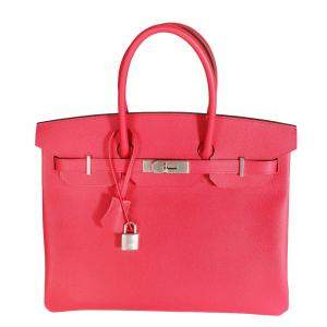 Hermes Rose Epsom Leather Palladium Hardware Birkin 35 Bag