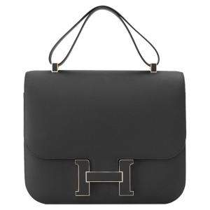 Hermès Black Sombrero Leather Constance Cartable 29 Bag