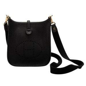 Hermes Black Clemence Leather Evelyne Bag