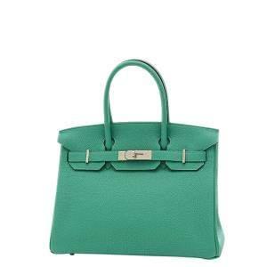 Hermes Green/Blue Togo Leather Palladium Hardware Birkin 30 Bag
