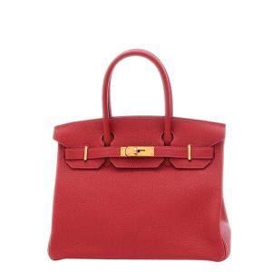 Hermes Red/Rouge Togo Leather Gold Hardware Birkin 30 Bag