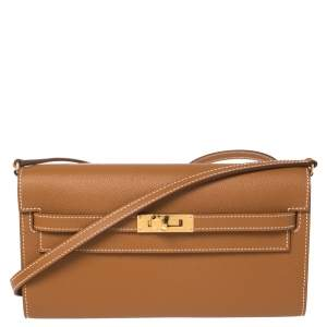Hermes Gold Epsom Leather Kelly Classique To Go Wallet