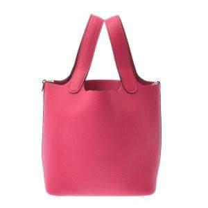 Hermes Pink Leather Picotin Lock Hobo Bag