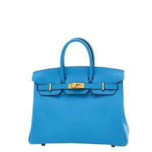 Hermes Blue Swift Leather Gold Hardware Birkin 25 Bag