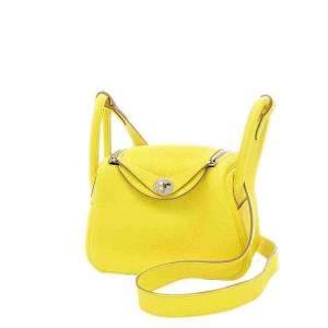 Hermes Yellow/Lime Leather Mini Lindy Shoulder Bag