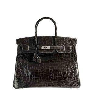 Hermes Black/Graphite Shiny Porosus Crocodile Leather Palladium Hardware Birkin 35 Bag