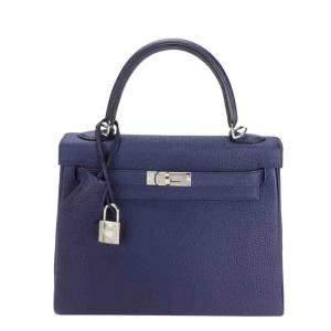 Hermes Blue Togo Leather Palladium Hardware Retourne Kelly 25 Bag