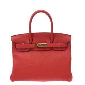 Hermes Red Clemence Leather Gold Hardware Birkin (2019) 30 Bag