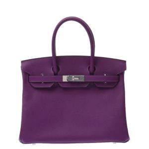 Hermes Purple Epsom Leather Palladium Hardware Birkin 30 Bag