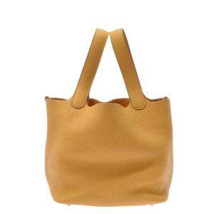Hermes Yellow Clemence Leather Picotin Lock Bag