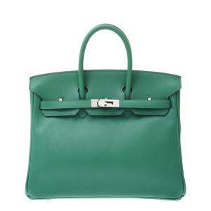 Hermes Green Swift Leather Palladium Hardware Birkin 25 Bag