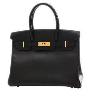 Hermes Black Calf Leather Gold Hardware Birkin 30 Bag