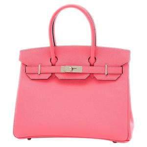 Hermes Pink/Rose Epsom Leather Palladium Hardware Birkin 30 Bag