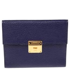 Hermes Bleu Encre Chevre Mysore Leather Mini Clic Card Holder