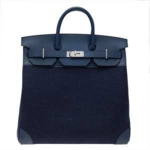 Hermes Blue De Presse/Blue Royale Vache Liegee Leather and Wool Palladium Hardware HAC Birkin 40 Bag