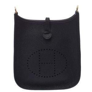 Hermes Black Taurillon Clemence Leather Evelyne TPM Shoulder Bag