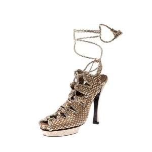 Hermes Beige/Metallic Gold Braided Leather Platform Ankle Wrap Open Toe Sandals Size 38