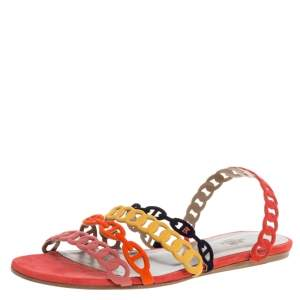 Hermes Multicolor Suede Leather Chaine D'ancre Flat Sandals Size 40