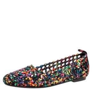 Hermès Multicolor Woven Silk Minorque Ballet Flats Size 39