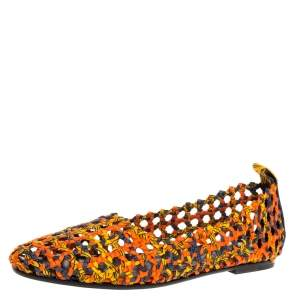 Hermès Multicolor Woven Silk Minorque Ballet Flats Size 39.5