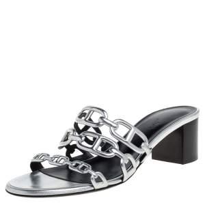 Hermes Silver Leather Tandem Slide Sandals Size 36