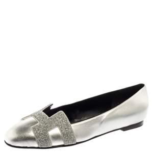 Hermes Metallic Silver Leather Nice Flats Size 40.5