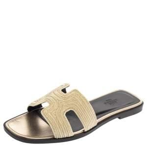 Hermes Metallic Pale Gold Twisted Metal Thread Oran Sandals Size 37