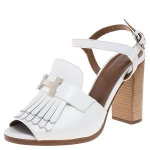 Hermes White Leather Alesia Ankle Strap Sandals Size 38
