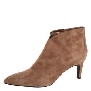 حذاء بوت كاحل هيرمس تفاصيل سحاب سويدي بني مقاس 39.5