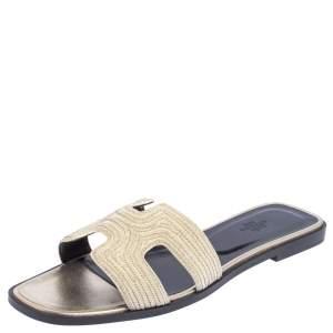 Hermes Cream Fabric Oran Flats Size 40.5
