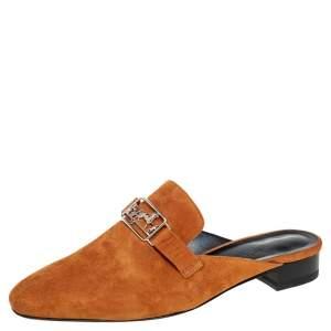 Hermes Brown Suede Slip On Mule Sandals Size 39.5