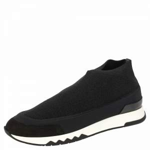 Hermes Black Fabric Tokyo Slip on Sneakers Size 37