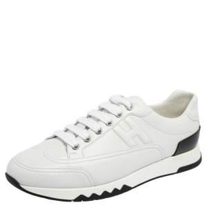 حذاء رياضي هيرمس ترايل جلد أبيض منخفض من أعلى مقاس 39