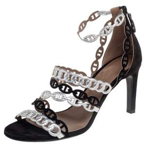 Hermes Silver/Black Suede and Leather Chaine D'Ancre Sandals Size 37.5