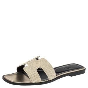 Hermes Gold Suede  Embellished Oran  Sandals Size 40.5