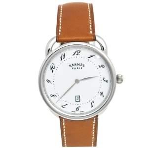 ساعة يد رجالية هيرمس أرسو AR7Q.810 ستانلس ستيل وجلد بيضاء 40 مم