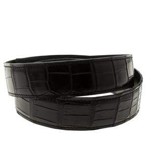 Hermes Black Porosus Crocodile Leather Belt Strap 85cm