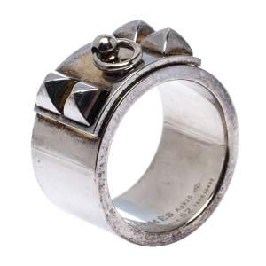 Hermes Collier De Chien Silver Band Ring Size 52