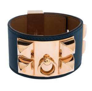 Hermes Collier De Chien Malachite Green Leather Rose Gold Plated Cuff Bracelet