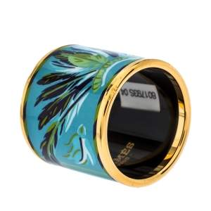 Hermes Blue Feather Print Enamel Gold Plated Scarf Ring