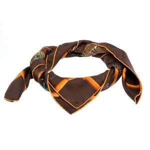 Hermès Chocolat Brown Jardins D'Hiver Silk Twill Square Scarf
