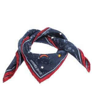 Hermes Navy Blue L'Annee des Etoiles Silk Pocket Square