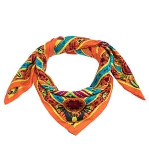 Hermes Orange Ors Bleus d'Afrique Silk Square Scarf