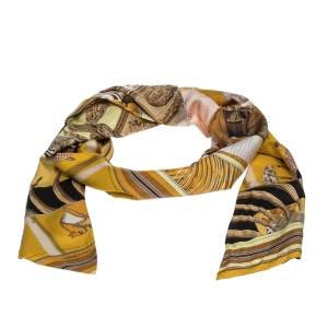 Hermes Yellow Patchwork Silk Maxi Twilly Scarf